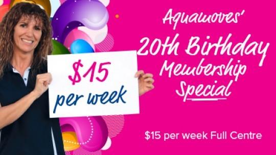 Aquamoves' 20th Birthday Membership Special