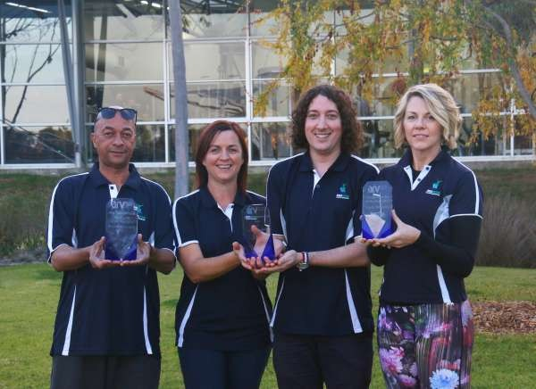 Left to right: Fernando, Megan, James and Linda with their Aquatics and Recreation Industry Awards.