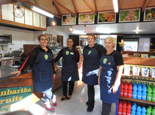 Celebrating Fresh Food: From left, KidsTown Dig In Café and events attendants, Natasha Pearson, Selina Sauiluna and Pauline Marslen-Neil and KidsTown programs and café duty supervisor, Leanne Houkes-Wilson.
