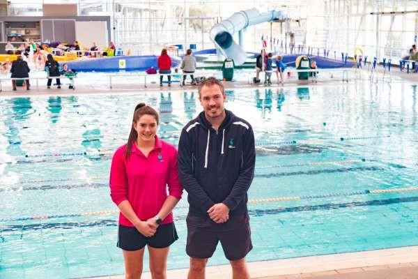 Aquamoves' Pool Lifeguard Hayley Hogan and Operations Coordinator Sean Harrap.