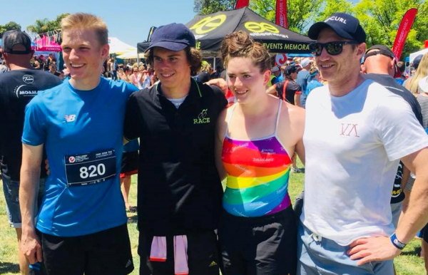Left to right: Jack O'Mahony, Sam Eddy and Hayley Hogan (with Aquamoves Centre Manager Marcus Cook) took out first place in last year's Sprint Distance division.