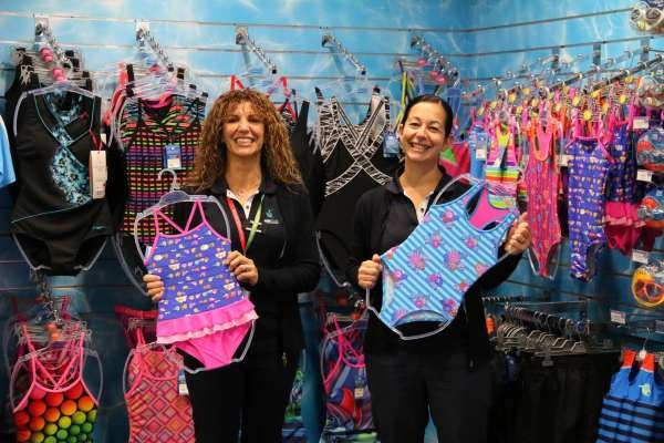 Narelle and Vanessa showing off our discounted bather range.
